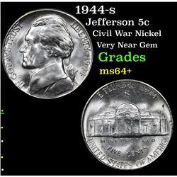 1944-s Jefferson Nickel 5c Grades Choice+ Unc