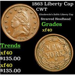 1863 Liberty Cap Civil War Token 1c Grades xf