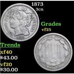 1873 Three Cent Copper Nickel 3cn Grades vf+