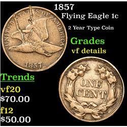 1857 Flying Eagle Cent 1c Grades vf details