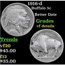 1916-d Buffalo Nickel 5c Grades vf details
