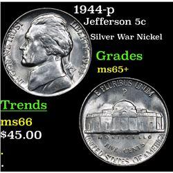 1944-p Jefferson Nickel 5c Grades GEM+ Unc