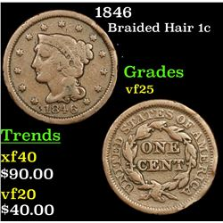 1846 Braided Hair Large Cent 1c Grades vf+
