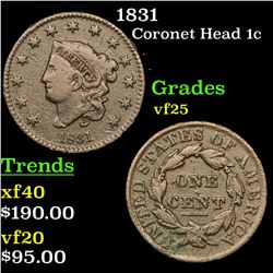 1831 Coronet Head Large Cent 1c Grades vf+