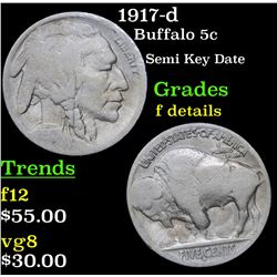 1917-d Buffalo Nickel 5c Grades f details