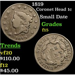 1819 Coronet Head Large Cent 1c Grades f+