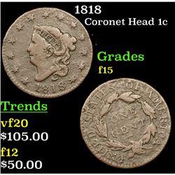 1818 Coronet Head Large Cent 1c Grades f+