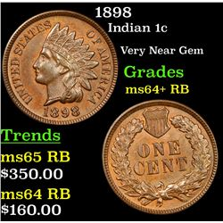 1898 Indian Cent 1c Grades Choice+ Unc RB