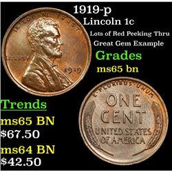 1919-p Lincoln Cent 1c Grades GEM Unc BN