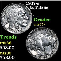 1937-s Buffalo Nickel 5c Grades GEM+ Unc