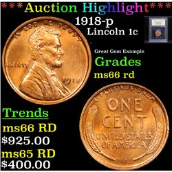 1918-p Lincoln Cent 1c Grades GEM Unc RD