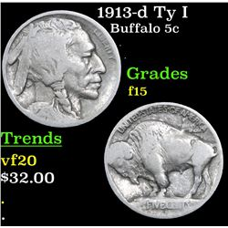 1913-d Ty I Buffalo Nickel 5c Grades f+