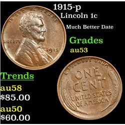 1915-p Lincoln Cent 1c Grades Select AU