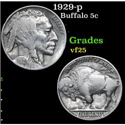 1929-p Buffalo Nickel 5c Grades vf+