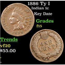 1886 Ty I Indian Cent 1c Grades f+