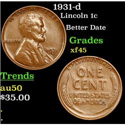 1931-d Lincoln Cent 1c Grades xf+