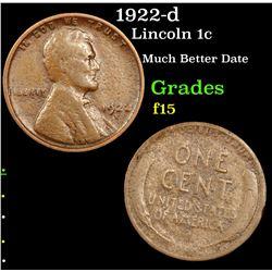 1922-d Lincoln Cent 1c Grades f+