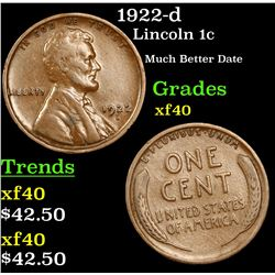 1922-d Lincoln Cent 1c Grades xf
