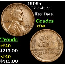 1909-s Lincoln Cent 1c Grades xf