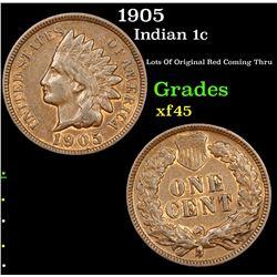 1905 Indian Cent 1c Grades xf+