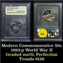 1991-1995-p WWII . . Modern Commem Half Dollar 50c Graded ms70, Perfection By USCG