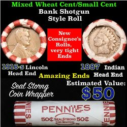 Mixed small cents 1c orig shotgun roll, 1916-d Wheat Cent, 1887 Indian Cent other end