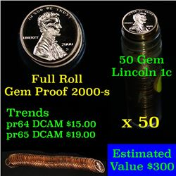 Proof 2000-s Lincoln cent 1c roll, 50 pieces (fc) . .