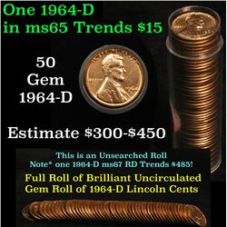 Full roll of 1964-d Lincoln Cents 1c Uncirculated Condition . .