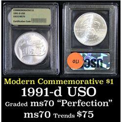 1991-d USO . . Modern Commem Dollar $1 Grades ms70, Perfection
