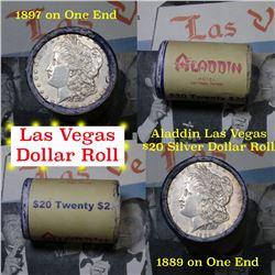 ***Auction Highlight*** Full Morgan/Peace Aladdin Hotel silver $1 roll $20, 1889 & 1897 ends . . (fc
