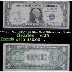 ***Star Note 1935E $1 Blue Seal Silver Certificate . . Grades vf+