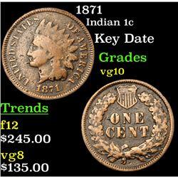 1871 Indian Cent 1c Grades vg+