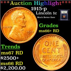 ***Auction Highlight*** 1915-p Lincoln Cent 1c Graded GEM++ RD By USCG (fc)