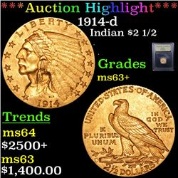 ***Auction Highlight*** 1914-d Gold Indian Quarter Eagle $2 1/2 Graded Select+ Unc By USCG (fc)