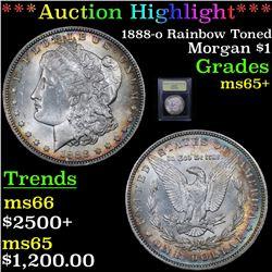 ***Auction Highlight*** 1888-o Rainbow Toned Morgan Dollar $1 Graded GEM+ Unc By USCG (fc)