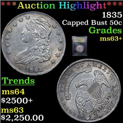 ***Auction Highlight*** 1835 Capped Bust Half Dollar 50c Graded Select+ Unc By USCG (fc)