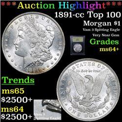 ***Auction Highlight*** 1891-cc Top 100 Morgan Dollar $1 Graded Choice+ Unc By USCG (fc)