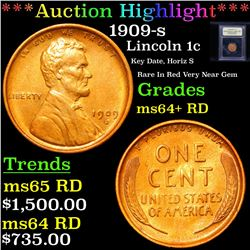 ***Auction Highlight*** 1909-s Lincoln Cent 1c Graded Choice+ Unc RD By USCG (fc)