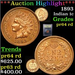 ***Auction Highlight*** 1893 Indian Cent 1c Graded Choice Proof Red By USCG (fc)