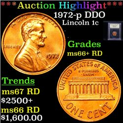 ***Auction Highlight*** 1972-p DDO Lincoln Cent 1c Graded GEM++ RD By USCG (fc)