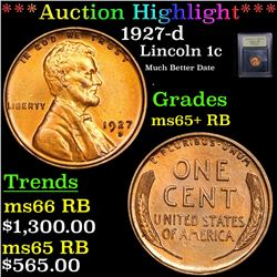 ***Auction Highlight*** 1927-d Lincoln Cent 1c Graded Gem+ Unc RB By USCG (fc)