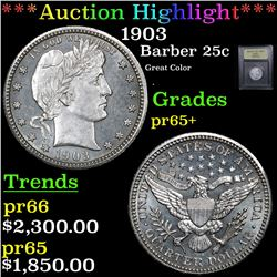 ***Auction Highlight*** 1903 Barber Quarter 25c Graded GEM+ Proof By USCG (fc)