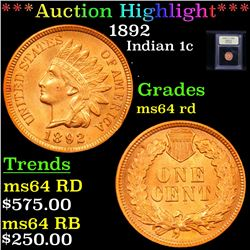 ***Auction Highlight*** 1892 Indian Cent 1c Graded Choice Unc RD By USCG (fc)