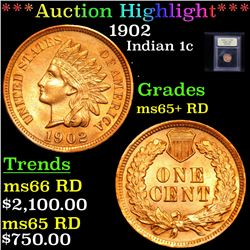 ***Auction Highlight*** 1902 Indian Cent 1c Graded Gem+ Unc RD By USCG (fc)