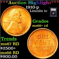 ***Auction Highlight*** 1910-p Lincoln Cent 1c Graded GEM++ RD By USCG (fc)