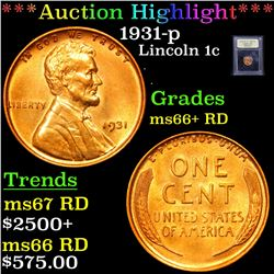 ***Auction Highlight*** 1931-p Lincoln Cent 1c Graded GEM++ RD By USCG (fc)
