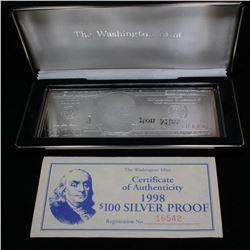 The Washington Mint 1998 $100 Silver Proof 4oz. .999 Pure Silver Grades