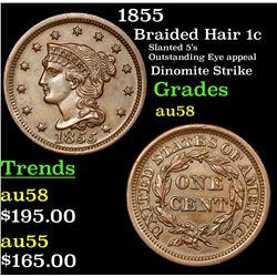 1855 Braided Hair Large Cent 1c Grades Choice AU/BU Slider