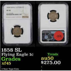 NGC 1858 SL Flying Eagle Cent 1c Graded xf45 By NGC
