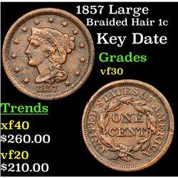 1857 Large Braided Hair Large Cent 1c Grades vf++